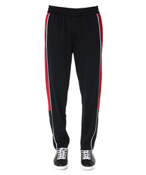 Black & red banded trousers