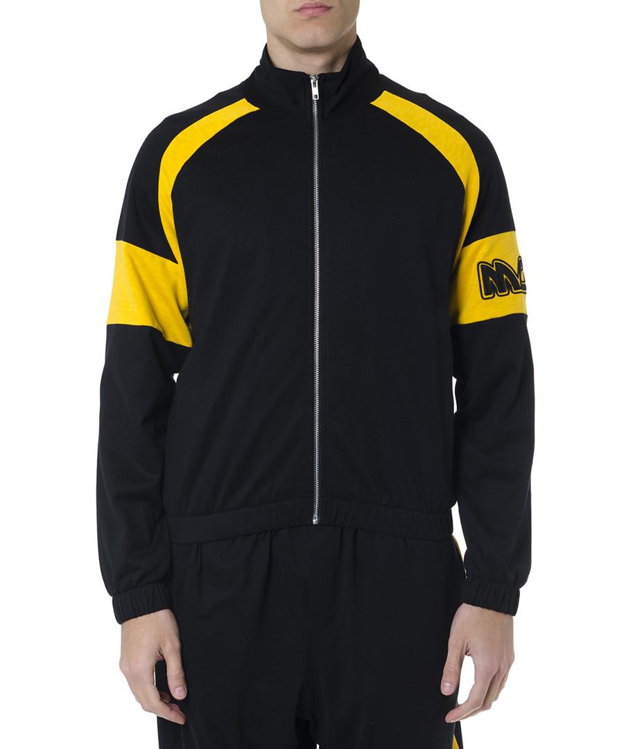 Black & yellow zip-up logo jacket Sale - alexander mcqueen