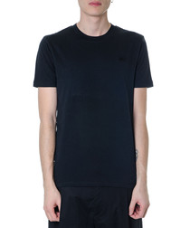 Black cotton embroidered swallow T-shirt