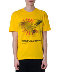 Yellow pure cotton print T-shirt