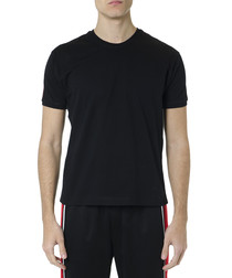 Black pure cotton logo stripe T-shirt