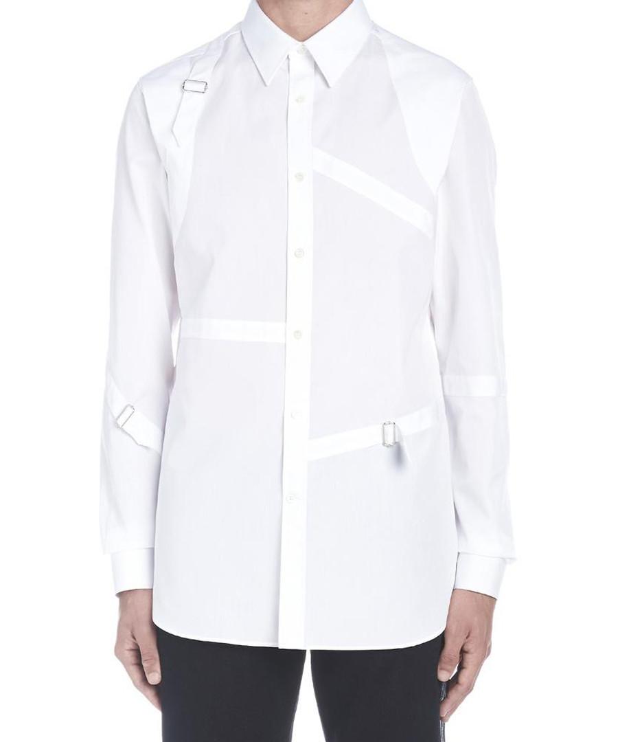 White pure cotton harness detail shirt Sale - alexander mcqueen
