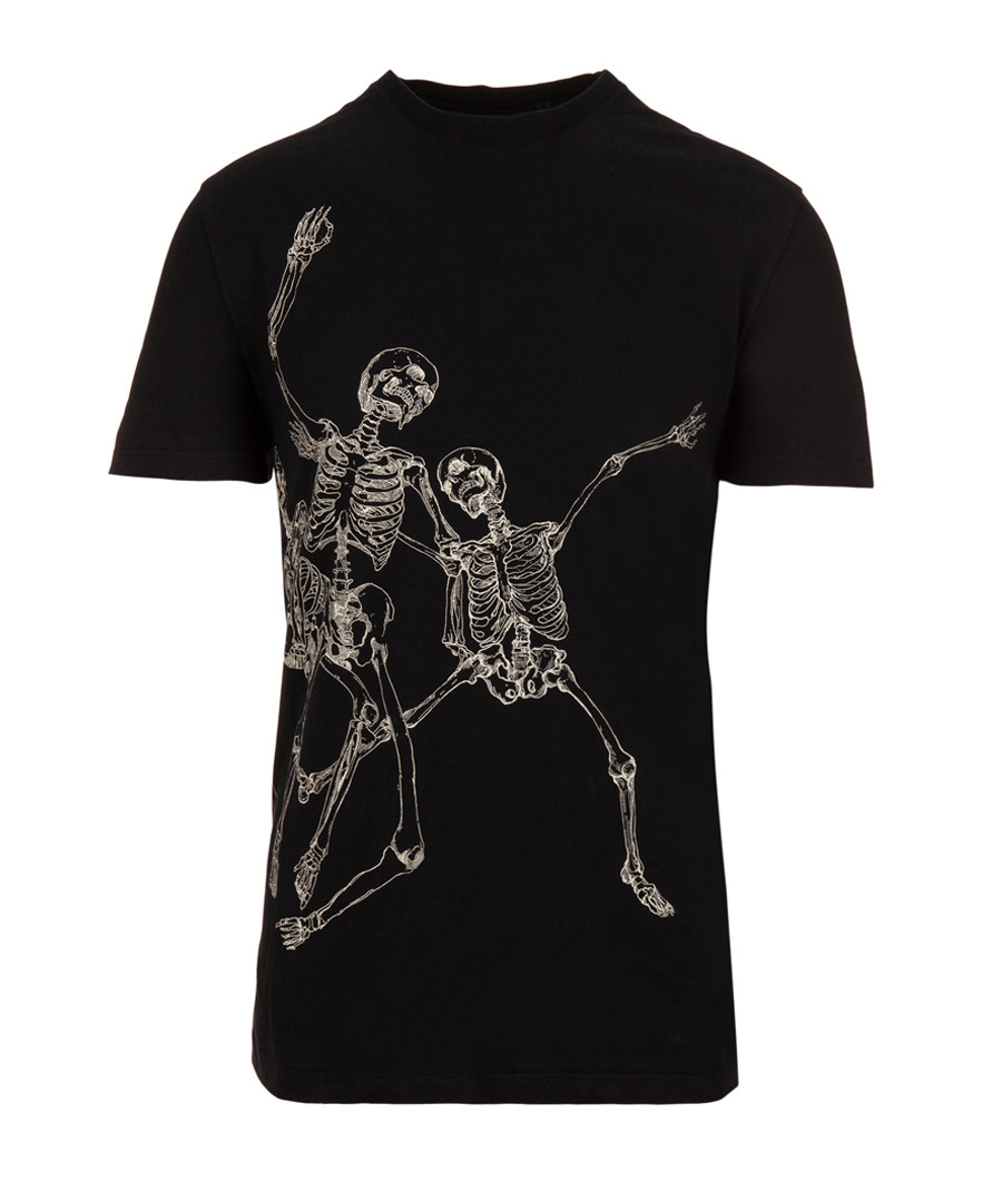 Skeleton black cotton graphic T-shirt Sale - alexander mcqueen