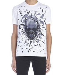 White cotton shattered skull T-shirt