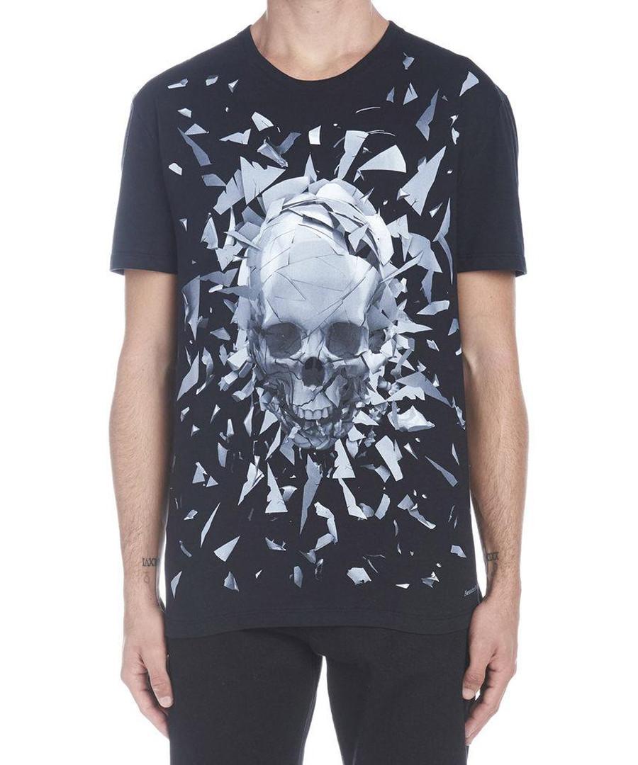 Black cotton shattered skull T-shirt Sale - alexander mcqueen