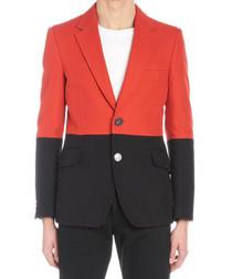 Red & black colour block blazer