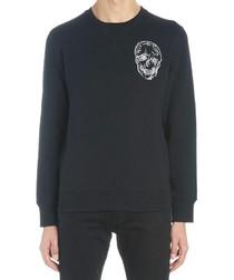 Black cotton skull sweatshirt