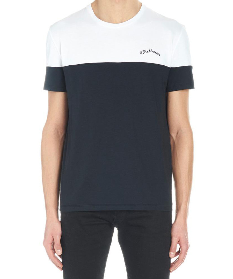 Monochrome colour block logo T-shirt Sale - alexander mcqueen