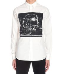 White cotton abstract print shirt