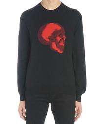 Red skull print wool blend sweatshirt