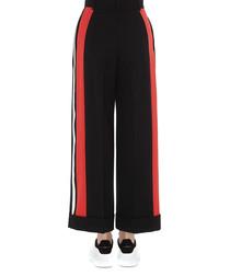 Black wool & silk side stripe trousers