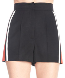 Black pure wool military shorts