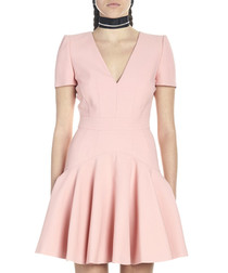 Pink wool blend pleated skater dress