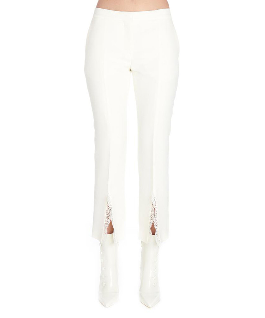 White wool blend lace insert trousers Sale - alexander mcqueen