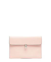 Pink leather skull clutch