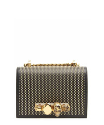Black & gold-tone jewelled crossbody