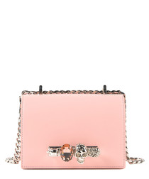 Pink leather knuckle crossbody