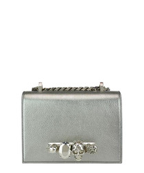 Silver-tone leather knuckle crossbody