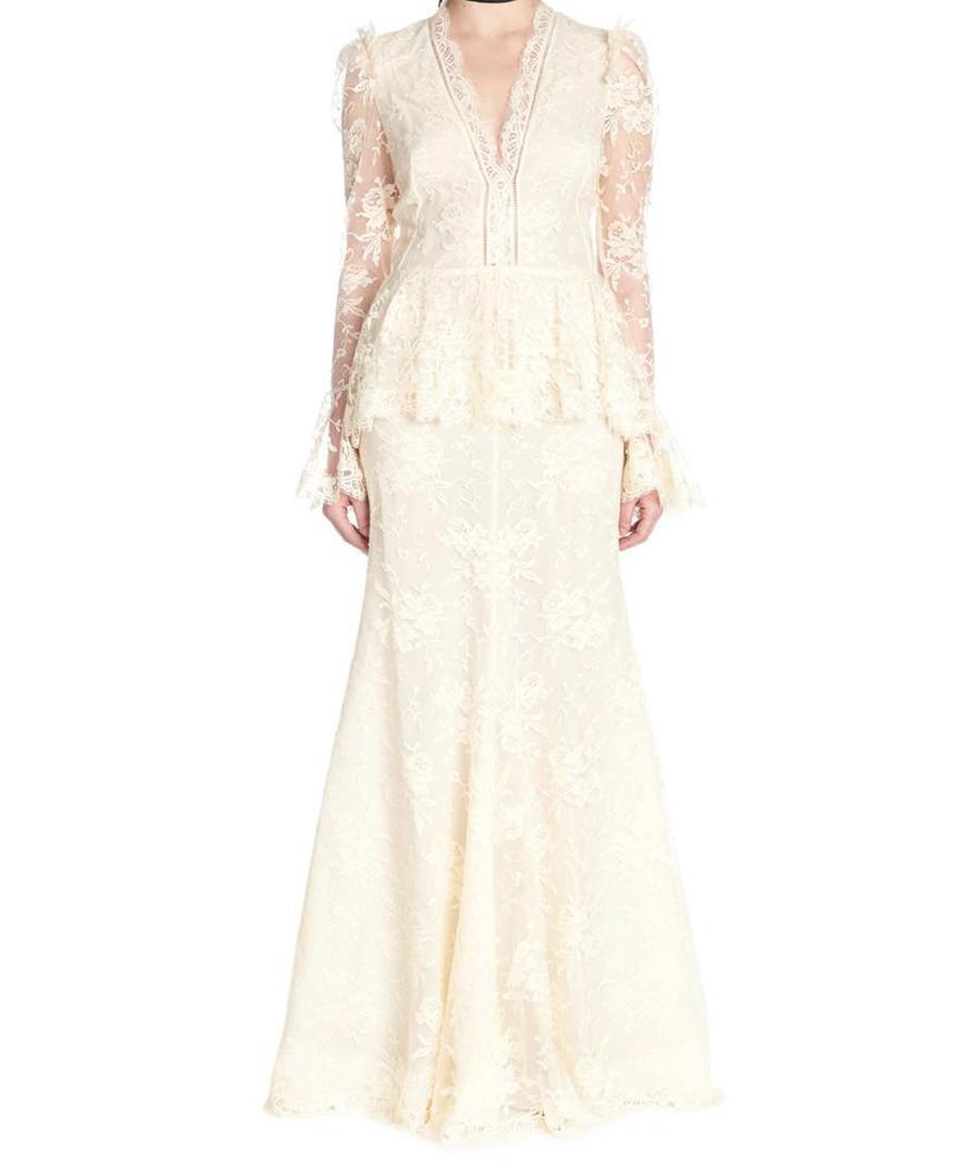 Beige lace peplum maxi dress Sale - alexander mcqueen