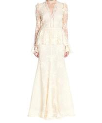 Beige lace peplum maxi dress