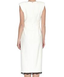 White wool & silk blend lace dress