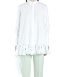White cotton lace detailed shirt