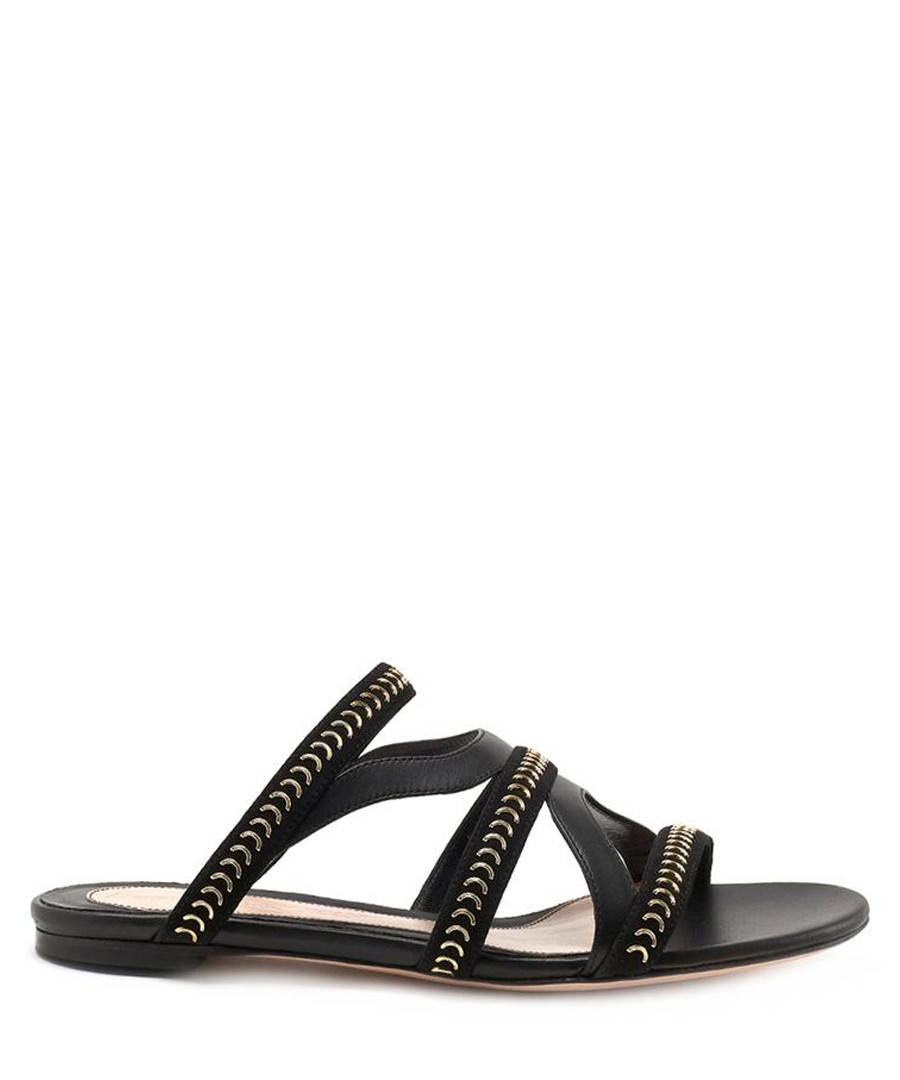 Black studded leather sandals Sale - alexander mcqueen