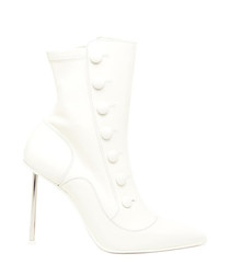 Victorian white leather ankle boots