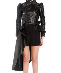 Black leather asymmetric peplum jacket