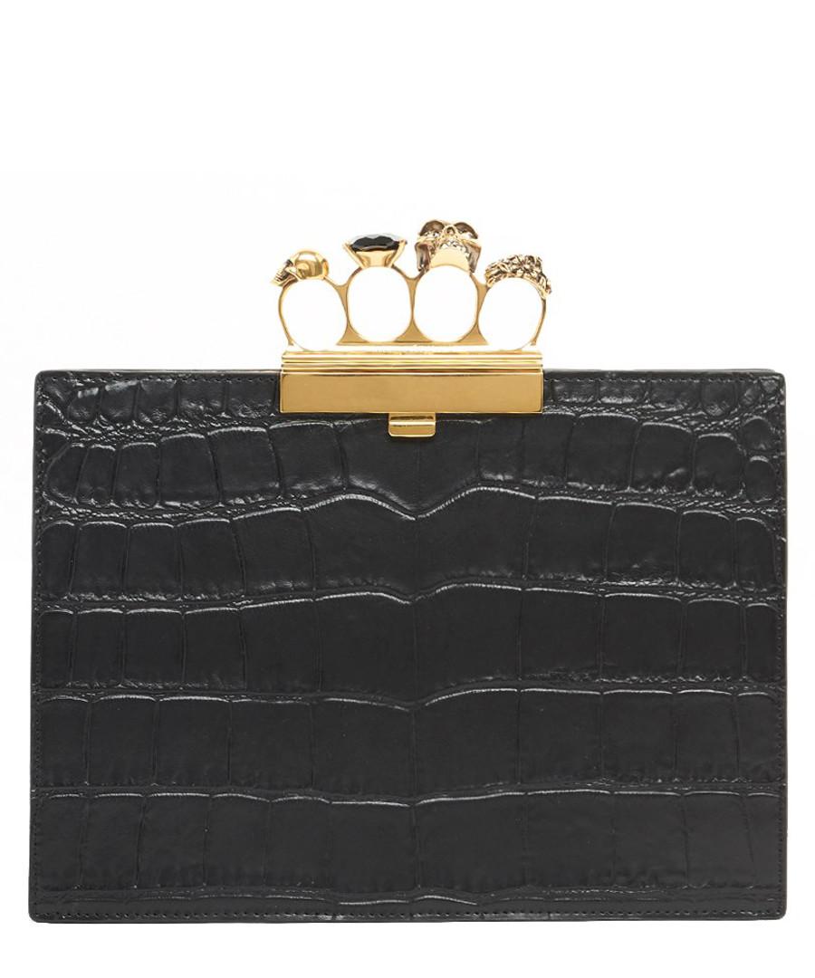 Black moc-croc leather knuckle clutch Sale - alexander mcqueen