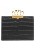 Black moc-croc leather knuckle clutch Sale - alexander mcqueen Sale