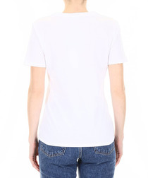 White cotton floral skull print T-shirt