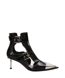 Black patent leather buckle ankle boots