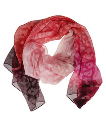 Pink & red print pure silk scarf