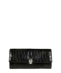Black moc-croc leather clutch