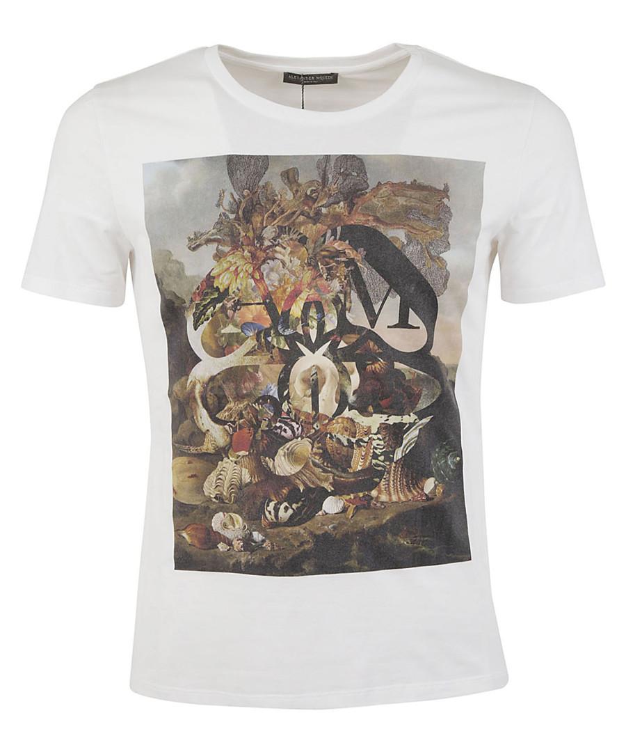 White pure cotton graphic T-shirt Sale - alexander mcqueen