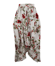 Ivory pure cotton floral print skirt