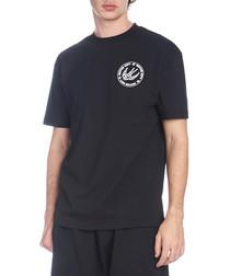 Black cotton logo T-shirt