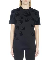 Black cotton swallow print T-shirt