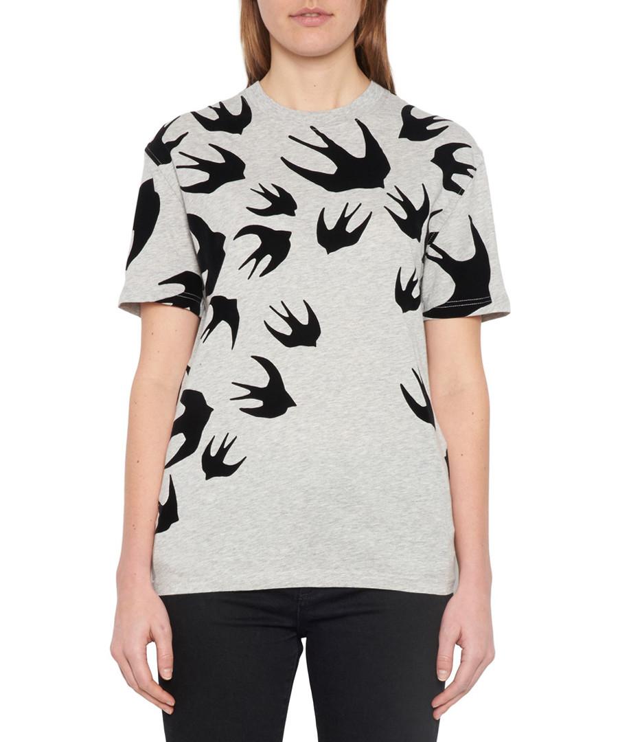 Grey cotton swallow print T-shirt Sale - mcq alexander mcqueen