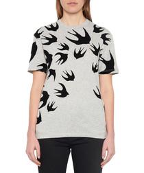 Grey cotton swallow print T-shirt