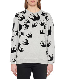 Grey cotton swallow print sweatshirt