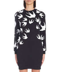 Black cotton swallow print jumper dress