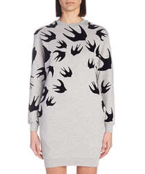 Grey cotton swallow print jumper dress
