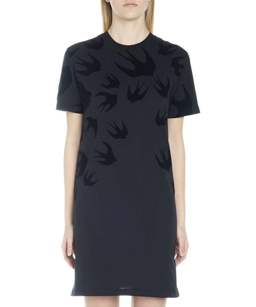 Black cotton swallow print T-shirt dress Sale - mcq alexander mcqueen