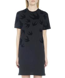 Black cotton swallow print T-shirt dress