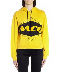 Yellow cotton logo print hoodie