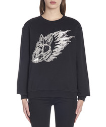 Flame Bunny black cotton sweatshirt