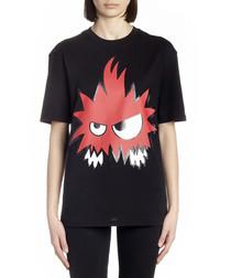 Black pure cotton graphic T-shirt