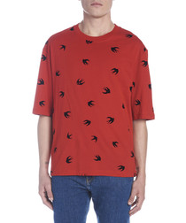 Red cotton swallow print T-shirt